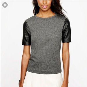 J Crew Leather Sleeve Blouse